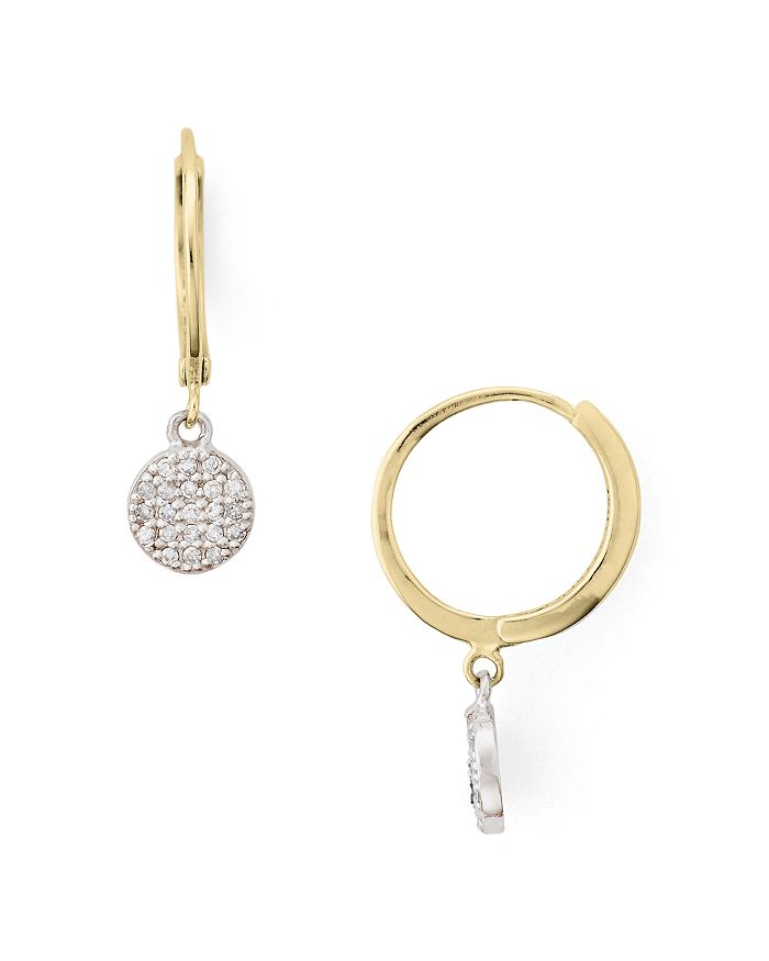 Bloomingdale's - Two-Tone Diamond-Encrusted Disc Drop Earrings in Gold-Plated Sterling Silver & Sterling Silver - 100% Exclusive