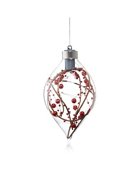 Bloomingdale's - LED Red Berries Glass Finial Ornament - 100% Exclusive