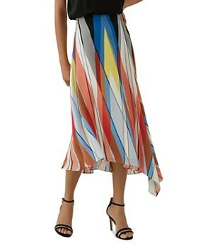KAREN MILLEN - Asymmetric Printed Silk Midi Skirt