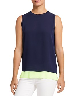 Theory - Lewie Color-Blocked Silk Top