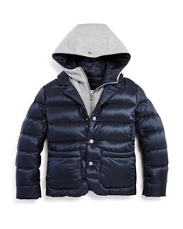 Herno - Unisex Layered-Look Hooded Down Jacket - Big Kid