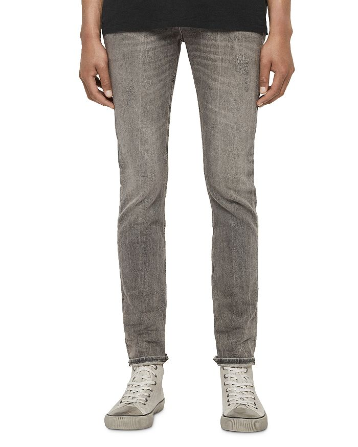ALLSAINTS - Cigarette Damaged Skinny Fit Jeans in Grey