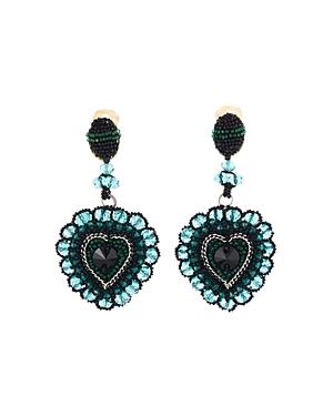 Oscar De La Renta Embellished Runway Heart Clip Earrings In Green