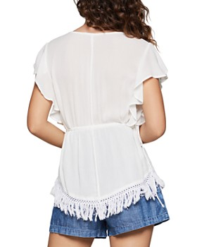 BCBGENERATION - Crochet-Trim Drawstring Top
