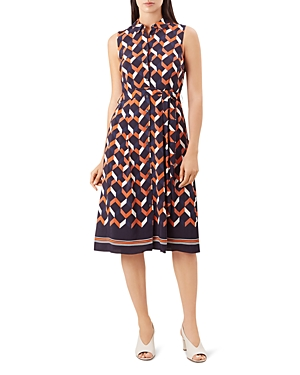 Hobbs London Suzanna Geometric Print Shirt Dress