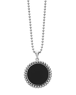 LAGOS - Sterling Silver Maya Black Onyx Circle Pendant Necklace, 34""