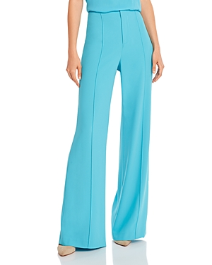 Alice And Olivia Dylan Clean High-Waist Wide-Leg Pants In Bluebird