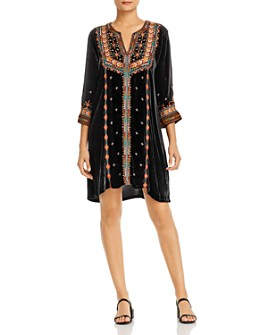 Johnny Was - Embroidered Velvet Tunic Dress