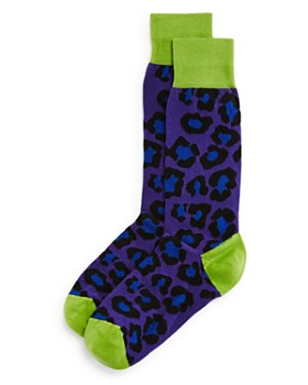 The Men's Store at Bloomingdale's - Color-Block Leopard Socks - 100% Exclusive