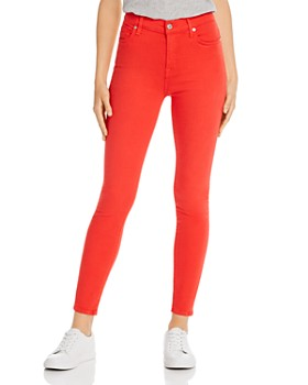 7 For All Mankind - High Rise Skinny Jeans in Bright Red