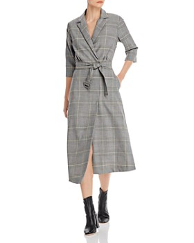 Marella - Tronco Asymmetric Plaid Trench Dress