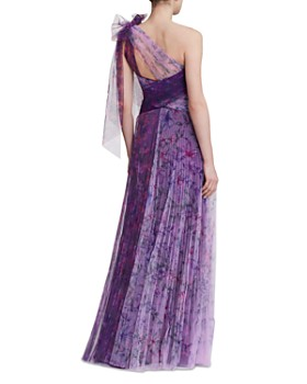 MARCHESA NOTTE - One-Shoulder Bow-Detail Gown