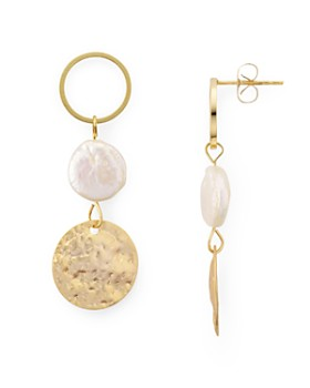 Jules Smith - Circle, Cultured Freshwater Pearl & Disc Triple Drop Earrings
