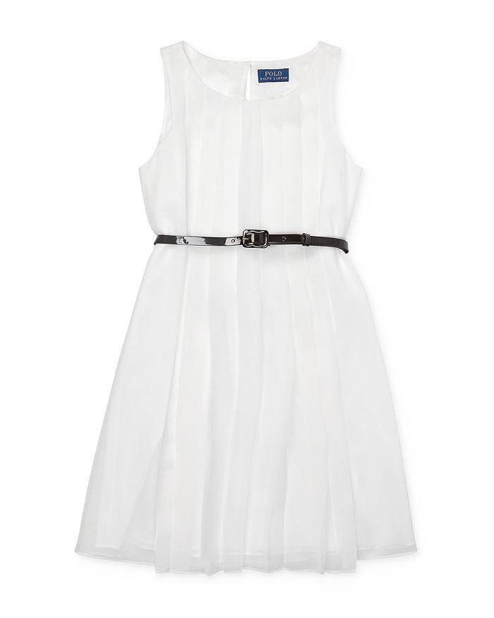 Ralph Lauren - Girls' Pleated Chiffon Dress with Belt - Big Kid