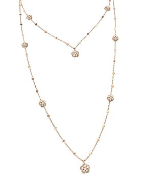 Pasquale Bruni - 18K Rose Gold Figlia dei Fiori White & Champagne Diamond Two-Row Necklace, 33""