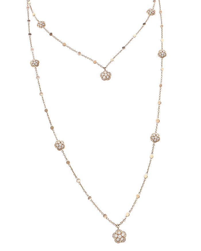"""Pasquale Bruni - 18K Rose Gold Figlia dei Fiori White & Champagne Diamond Two-Row Necklace, 33"""""""