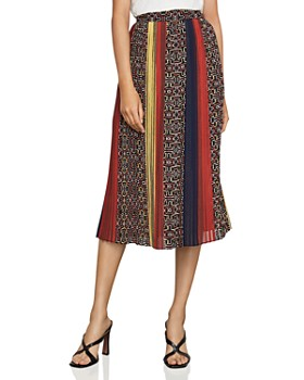 e1ddece885a5 BCBGMAXAZRIA - Pleated Printed Midi Skirt ...