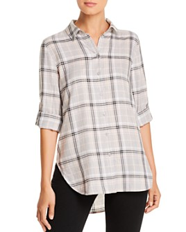 Calvin Klein - Double-Cross Plaid Boyfriend Shirt