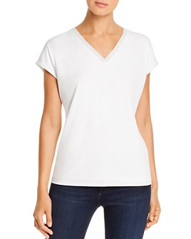 Calvin Klein - Metallic Stripe V-Neck Top
