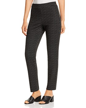 Donna Karan - Grid Print Straight Knit Pants