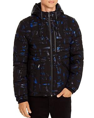 Karl Lagerfeld Paris Geometric-Quilted Hooded Jacket