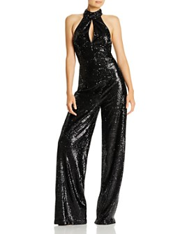 Cinq à Sept - Shelby Sequin Halter Jumpsuit