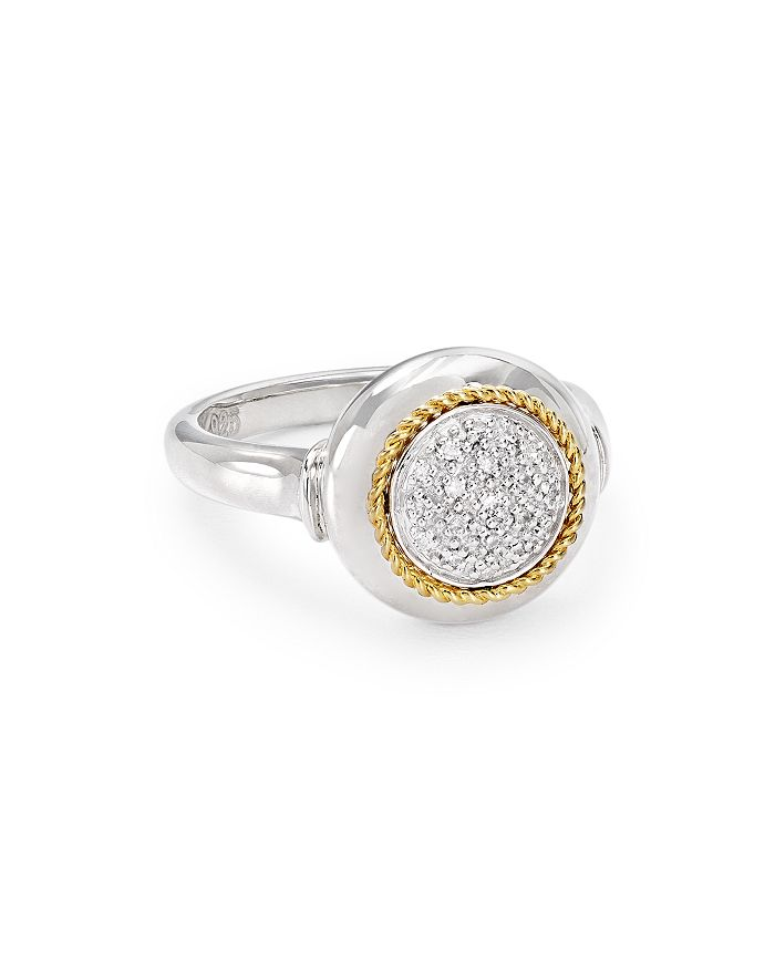 Bloomingdale's - Diamond Round Ring in Sterling Silver & 14K Gold-Plated Sterling Silver, 0.07 ct. t.w. - 100% Exclusive