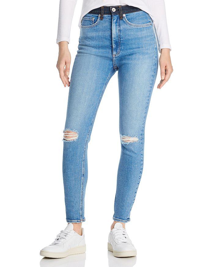 rag & bone - Jane Super High-Rise Colorblock-Waist Skinny Jeans in Dara