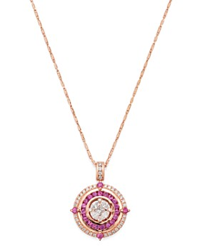 """Bloomingdale's - Pink Sapphire & Diamond Pendant Necklace in 14K Rose Gold, 18"""" - 100% Exclusive"""