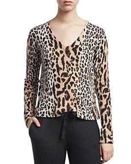 ATM Anthony Thomas Melillo - Mixed Leopard Print V-Neck Sweater