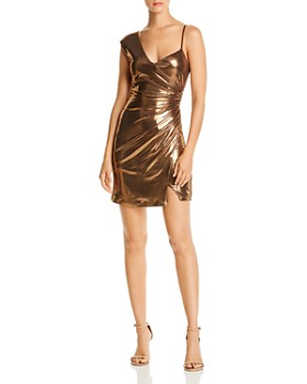 BCBGMAXAZRIA - Bronze Lamé Cocktail Dress