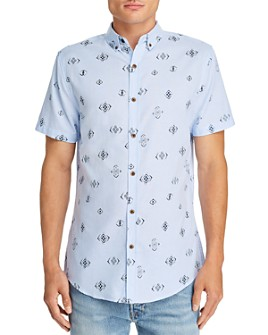 Sovereign Code - Abbott Tile-Print Short-Sleeve Slim Fit Button-Down Shirt