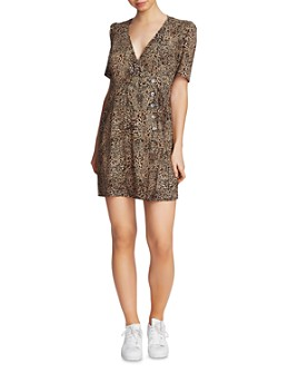 1.STATE - Leopard Print Button Dress