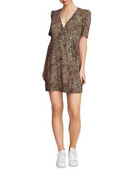1.STATE - Leopard Print Button Dress