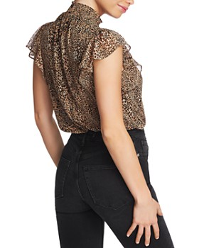 1.STATE - Keyhole Leopard Print Blouse