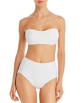 kate spade new york - Eyelet Bandeau Bikini Top & Eyelet High-Waist Bikini Bottom