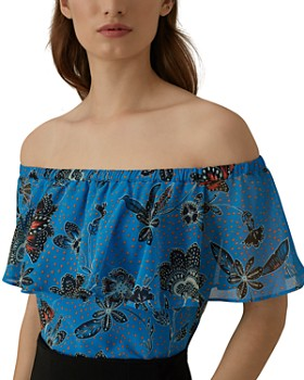 KAREN MILLEN - Floral Off-the-Shoulder Top