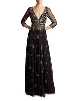 Basix - Three-Quarter Sleeve Beaded Gown