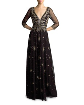 Basix - Three-Quarter Sleeve Beaded Gown