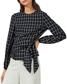 Ted Baker - Toulaa Windowpane Plaid Faux-Wrap Top