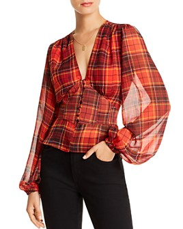 LINI - Taylor Balloon-Sleeve Plaid Top - 100% Exclusive