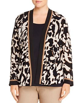 NIC and ZOE Plus - Animal-Print Open Cardigan