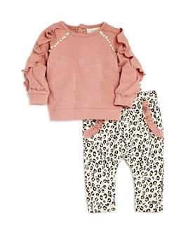Miniclasix - Girls' Ruffled Top & Leopard Pants Set - Baby