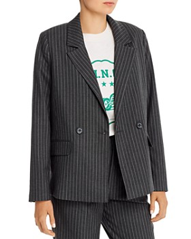 Anine Bing - Becky Pinstriped Single-Button Blazer