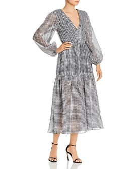 Bec & Bridge - Nadine Crinkled Gingham Midi Dress