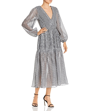 Bec & Bridge Nadine Crinkled Gingham Midi Dress