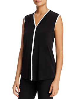Calvin Klein - Sleeveless Contrast-Trim Top