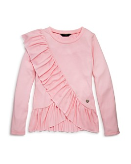 bebe - Girls' Long Sleeve Ruffled Top - Big Kid