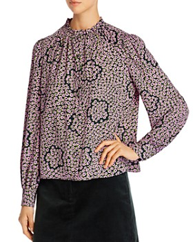 kate spade new york - Flair Flora Ruffle-Neck Blouse