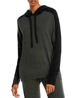 Minnie Rose - Color-Block Hooded Cashmere Sweater
